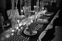 Christmas Black & White Table Decor