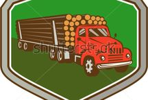 Transportation and Heavy Equipment / Royalty-free stock images and illustrations on travel and transportation like trains, trucks, lorries, cars and boats art graphics done in retro style.