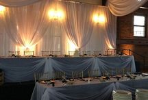 Feature Tables by I Do Events / We ALWAYS recommend to dress up your feature tables at your wedding.  Draw the focus to your head tables and your cake table.