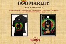 Signature Serie BOB MARLEY / Avis aux fans ! Cette année, la collection « Signature Series » met Bob Marley à l'honneur ! Depuis plus de 20 ans, de nombreux artistes, ou leurs héritiers, ont participé à l'élaboration de leur collection « Signature Series » qui est vendu au profit de l'association de leur choix. Une partie des bénéfices* de la vente du tee-shirt et du pin's crée pour l'occasion au centre de recherche américain « City of Hope » l'un des leaders en recherche et traitement cancéreux et diabétique.