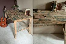Möbel / selbstgebaute Echtholzmöbel aus alten  Holz und Dielen