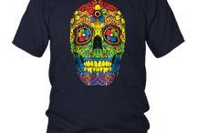 Sugar Skull Gay Pride LGBT Rainbow Flag T shirt Lesbian Gift