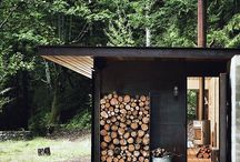 Cabin in the woods / Inspiration for a hidden, primitive wooden retreat. Food on the fire, simple sauna and just the nature around you.