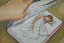 """Lorsque Lecture devient Peinture, Illustration....... / """"La lecture commence les yeux fermés. """"Yvon Rivard"""