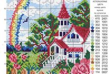 house with flowers cross stich