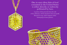 """B Collection / The """"B"""" collection offered in 18kt gold and includes both link and cuff bracelets, earrings, pendants, rings, and five different bee-related charms.  The collection designed to support the declining honeybee  population that is affecting plant life and food supply worldwide. A portion of the proceeds from the sale of the collection, will be donated to the non-profit, HoneyLove.org, which supports urban beekeeping and home gardens."""
