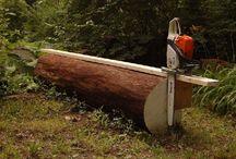 Lage material av tømmer