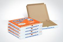 Pizza Boxes / Printed pizza boxes. Die Cut corrugatedboard.