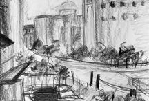 Atmospheric Perspective Drawings:  College level