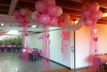Decoración 15 años rosado / Decoración sencilla de mesa y sala con telas, globos y flores