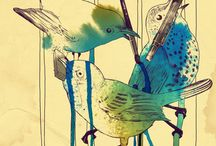 Birds / flying / moving / Inspiration for screen printing