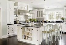 Home - Dream Kitchen / Keeping bungalow & vintage style with modern amenities: white with accent in black and Vintage Fruit & Vegetable crate labels: farm house sink, multi surfaces include soap stone & butcher block, school house light fixture, checkered floor?
