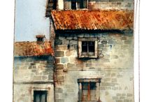 Watercolor Buildings & Boats