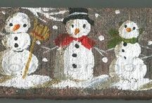 Christmas / Acrylic and watercolor creations by me, Sylvia Pimental