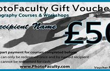 Photography Gift Vouchers / Make a special occasion really special by giving the gift of learning.  Give a Gift Voucher for a Photography Course with Photofaculty.  Vouchers from £25