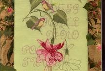 Cross stitch fuchsias and hummingbirds