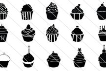 Cupcake Silhouette Vector / Give this designs to your chief chef, he may prepare delicious cupcakes for you and your lovely family!