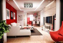 kırmızı modern oda (modern red room)