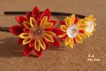 My work - Kanzashi - die Accessoires / Kanzashi  ist eine japanische Technik und alles habe ich selbst gemacht. Eigentlich sind es Blumen, die als Accessoires für Damen dienen. Man kann sie für festliche Ereignise tragen, zum Fotografieren, oder einfach nur so :-)