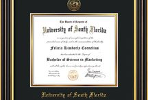 USF - University of South Florida Diploma Frames and Graduation Gifts! / Official USF Diploma frames. Exquisitely crafted to exacting specifications for the USF diploma. Custom framed using hardwood mouldings and all archival materials, including UV glass to prevent fading from sunlight AND indoor incandescent lighting! Each frame exceeds Library of Congress standards for document preservation and includes a 100% lifetime guarantee, ensuring that a hard-earned achievement will be honored and protected for generations. Makes a thoughtful and unique graduation gift!