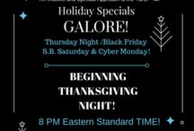ThanksGiving and Black Friday Specials 2016! / GREAT Savings on Tarot Readings for YOU or Purchase for GIFTS!   We have AMAZING Holiday Specials that'll make YOU the Gift-Giving Diva of 2016!!   We have incredible SAVINGS on TAROT READINGS and Reading bundles beginning ThanksGiving Night at 8 PM Eastern Standard time!   Also new specials begin 8 AM Black Friday, ALL DAY Small Business Saturdayk, and Super-Early Cyber Monday! SEE for yourself!  holidayspecials.supernaturaltarot.org