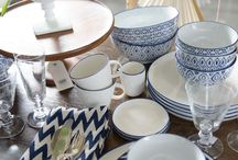 blue and white tablewear