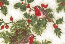 Merry Christmas from Fabric Freedom / Classic Christmas designs with metallic hints featuring Robins, Bows and Fairy Dust and lots of Holly.