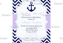 Nautical Anchor Purple and Navy Baby Shower / This collection features a navy blue anchor with a heart. The background consists of navy blue chevrons and a purple polka dot ribbon.