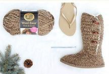 Crocheting Boots from thongs.