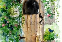 Cat Art / Acrylic and watercolor paintings