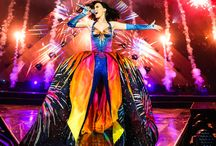 """Katy Perry's Prismatic World Tour / Katy Perry launched her Prismatic world tour at Odyssey Arena in Belfast, Northern Island on Wednesday May 7. The show is a spectacle of costumes and colors. The 22-song set list features music from her last two albums, as well as a mash-up of her song 'International Smile' and Madonna's 'Vogue'. Katy revealed to The Metro: """"I'm very excited to be kicking off in the UK because the audience here, the fans, their energy is wild and that is what I want for the first shows, I want that wild energy."""""""