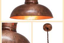 Oude vintage hanglampen, keuze uit verschillende modellen in staal of koper, bij Chairs@ Home