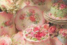Roses teapots, cakes etc.