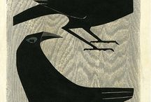 Birds. Printmaking