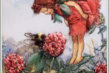 tündér törpe színes / fairy dwarf Vintage transfer transzfer colorful