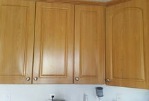 Remodel of Kitchen & Bathrooms / Before and after pictures. Using Fusion paint. Love the colours and how it turned out.