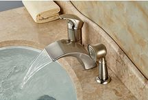 GOWE Brushed Nickel Roman Waterfall Spout Tub Faucet Bathroom Sink Mixer Tap W/ Hand Sprayer