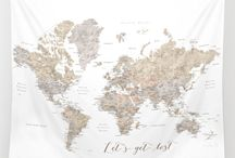 * Abey world map with cities in soft neutrals
