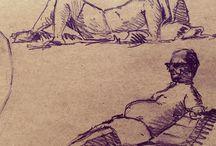 my work Sunbathing in #france @blackwing #pencil #sketch #sketchbook www.coleajeremy.com