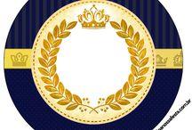 Kit coroa azul e dourado