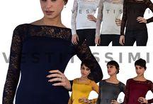 Maglia maglietta donna maniche lunghe pizzo aderente sottogiacca sexy top M19