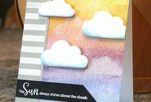 Cards: Clouds, Sun, Umbrellas
