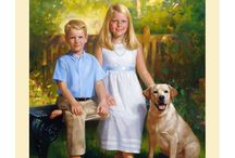 Family Pets / Families with their pets, hand painted by Leon Loard Oil Portraits