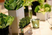 table settings / flower arrangements / by Kitty Kwan