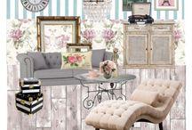 B. SET SHABBY CHIC / Inspiración: muebles antiguos pintados en blanco decapados. Patinados. Paleta de colores pasteles. Estampados florales. Casas de campo inglesas.