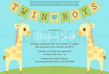 Lee Paperie Twin Baby Shower Invitations / Custom twin baby shower party invitations by Lee Arthaus