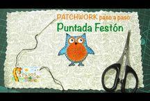 Patchwork Puntada Festón / En este rápido video puedes ver como colocar apliques en patchwork o para decorar una camiseta, delantal, cojín, babero... mediante la puntada festón