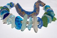 Lampwork necklaces with seaglass / Lampwork beads with seaglasses