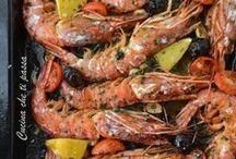 peixe e camarão