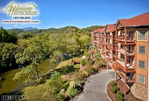 Appleview River Resort / Appleview River Resort is a luxurious Smoky Mountain condos resort nestled on a quiet peninsula along the Little Pigeon River.  One of the few properties in the area offering both mountain views and waterfront accommodations, all in the same resort! Convenient to Sevierville, Pigeon Forge and Gatlinburg, the resort is located in the heart of premier shopping, dining, entertainment and has close proximity to the Great Smoky Mountains.